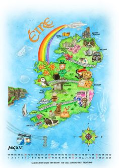 Calendar page: Illustrated map of Ireland ©  by Claudia Ottilie