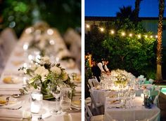Gorgeous outdoor wedding reception by the pool