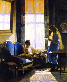"""Daniel Garber, """"South Room on Green Street"""" 1920 --- I love this Garber painting because my niece resembles the young girl in the scene!"""
