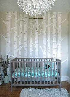 gender neutral woodland nursery, rustic, modern, baby nursery, grey nursery, tiny small nursery, baby boy, feather mobile, tree mural