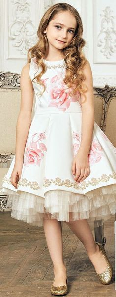 Gorgeous! JUNONA Girls Ivory   Pink Rose Party Dress. Perfect Flower Girl  Dress for a30df351c1cc