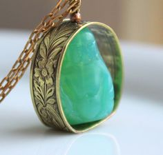 Spinning Buddha Pendant  Vintage Opal Green Glass Tiny Buddha Necklace by SirensSoul