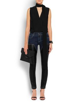 Givenchy - Skinny Jeans In Dark-blue Denim And Black Leather - Dark denim - FR36