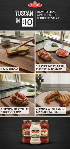 Learn to make the perfect panini with Bertolli sauce in this week's Tuscan in :10. With inspiration from The Tuscan Way of Cooking, this delicious Tuscan-style sandwich takes only a few simple steps and key ingredients.