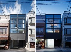 FLAG house (day and night exterior views show the relationship of the gallery to the urban surroundings) in Tokyo, Japan / by Apollo Architects and Associates