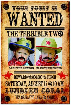 cowboy themed terrible twos western second birthday party for two boys wanted poster invitation