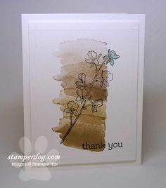 handmade Thank You card ... watercolor wash background look created with a stamp ... overstamet with delicate orchid branch ... delightful!  ... Stampin' Up!