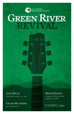 Join the USNWC for the 3rd annual Green River Revival, a St. Patrick's Day party taking place on Saturday, March 16. The celebration kicks off at 9 a.m. with the Color Me Green 5K. At 1 p.m., watch as the whitewater rapids turn bright green in honor of St. Patrick's Day, followed by live music by the Tim Reynolds Trio and the Mike Strauss band.