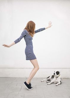 navy striped dress and navy sneakers. Via could I have that