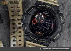 The New GW-9300DC-1 Desert Camo Series with Carbon fiber inserts band with a light brown desert camouflage band pattern.