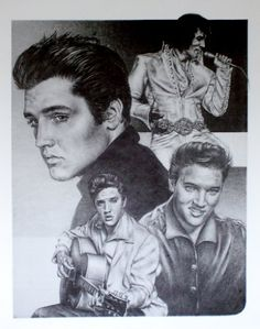 Elvis Presley Original Sketch Prints - Poster Size - Black & White - Features Elvis Over Several Decades. Print of Highly-Detailed, Handmade Drawing By Artist Mike Duran   http://citymoonart.com/elvis-presley-original-sketch-prints-poster-size-black-white-features-elvis-over-several-decades-print-of-highly-detailed-handmade-drawing-by-artist-mike-duran/