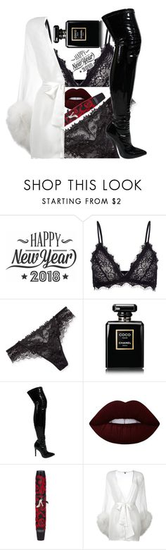 """New Year's Eve Lingerie"" by ashneliadee ❤ liked on Polyvore featuring Cricut, Anine Bing, Lise Charmel, Chanel, Lime Crime, Physicians Formula and Gilda & Pearl"