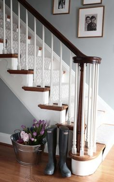 Beautiful Painted Staircase Ideas for Your Home Design Inspiration. see more ideas: staircase light, painted staircase ideas, lighting stairways ideas, led loght for stairways. Painted Stairs, Wooden Stairs, Painted Wood, Wood Stair Treads, Stair Banister, Painted Staircases, Railings, House Stairs, Carpet Stairs