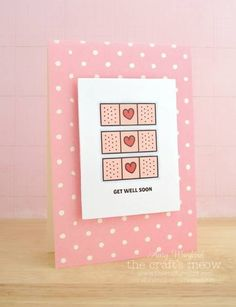 PS Get well; bandaid dies; dots; pink and white; clean and simple