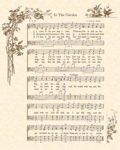 Hymns In the Garden . 4 Luxury Hymns In the Garden . In the Garden Note Cards or Hymn Print Hymn Art by Gospelhymns Hymns Of Praise, Praise Songs, Worship Songs, Sheet Music Art, Music Wall Art, Music Sheets, Church Songs, Church Music, Gospel Music