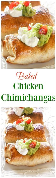 Baked Chicken Chimichangas - one of our favorite healthy Mexican meals. the-girl-who-ate-...