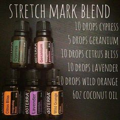 Stretch Mark Blend with doTERRA essential oils.I mixed these ingredients in a glass spray bottle and will be applying daily. It's designed to help prevent AND lighten existing stretch marks. Doterra Essential Oils, Essential Oil Blends, Essential Oil Diffuser, Essential Oils For Pregnancy, Doterra Diffuser, Natural Essential Oils, Natural Oils, Natural Healing, Elixir Floral