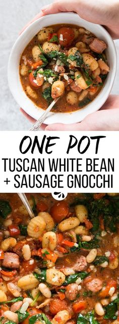 A quick and easy weeknight dinner, this One Pot Tuscan Bean and Sausage Gnocchi recipe only needs 15 minutes of prep time. You'll only have ONE pot to wash as well, so clean up is done in a matter of minutes. The homemade sauce is full of delicious Italian flavors and packs a healthy amount of fresh vegetables, like spinach and tomatoes. To finish the dish is baked like a casserole, which gives you time to set the table totally stress-free - so you can actually sit down and feel RELAXED.