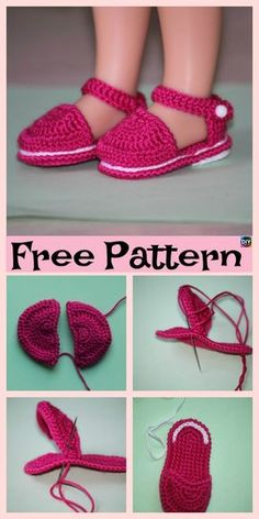 Adorable Knit Doll's Booties – Free Pattern Barbie Knitting Patterns, Knitting Dolls Clothes, Crochet Doll Clothes, Crochet Shoes, Knitted Dolls, Doll Clothes Patterns, Doll Patterns, Crochet Crocodile Stitch, American Girl Crochet