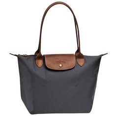 Longchamp Le Pliage Medium Shoulder Tote Monogramming Available ($125) ❤ liked on Polyvore featuring bags, handbags, tote bags, gunmetal, zippered tote bag, white leather tote bag, monogram tote, longchamp tote and leather tote bags