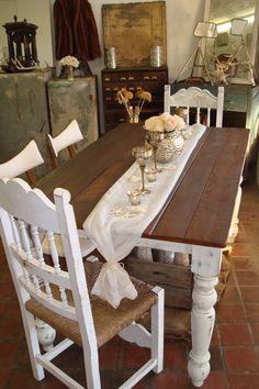 RESERVED for Johanna, Reclaimed Coastal Blue Farm Table, Rustic Barn Pine Farmhouse, Dining Table. $675.00, via Etsy.