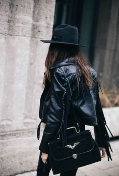 Jacket  boho black leather fringed bag black bag pants black pants felt hat  hat black hat all black b59b1b06adfa