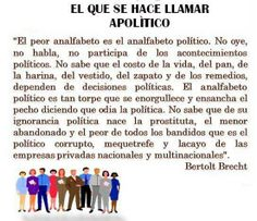 """Ecos de libertad: """"El peor analfabeto..."""" Por Bertolt Brecht"""