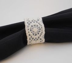 Gold, Lace, and Pearl Decorations :  wedding Vintage Lace Napkin Rings