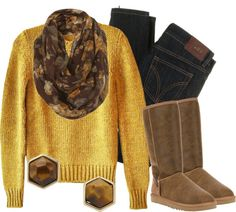 """""""Mustard & Mahogany"""" by qtpiekelso on Polyvore"""