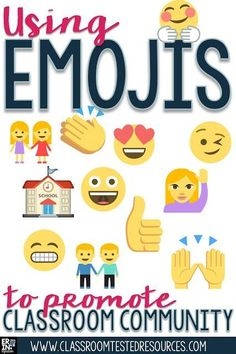 Learn how Emojis can be used to promote classroom community through icebreakers, communication, designing an Emoji to represent the class, and more! Lots of engaging ideas students of all ages will love PLUS a FREE download at the link! New Classroom, Classroom Community, Classroom Themes, Classroom Organization, Classroom Management, Classroom Discipline, Class Management, First Day Of School Activities, School Resources