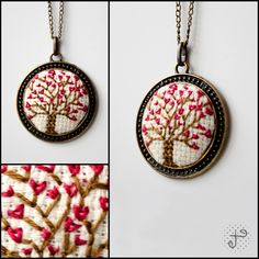 tree of love handstitched necklace valentine& by eXehandmade Cross Stitch Beginner, Tiny Cross Stitch, Cross Stitch Heart, Cross Stitch Cards, Cross Stitch Designs, Cross Stitching, Cross Stitch Patterns, Beaded Embroidery, Cross Stitch Embroidery