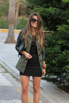 Black Dress & Jacket leather sleeves a Hit