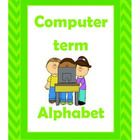 Alphabet posters depicting various computer terms. Computer Lab Posters, Alphabet Posters, School Ideas, Fictional Characters, Fantasy Characters