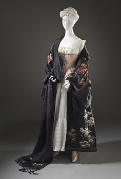Woman's Kimono-Style Dressing Gown with Sash, late 19th - early 20th century  Costume/clothing nightwear/entire body, Gown: silk crepe with silk embroidery; sash: silk plain weave with silk embroidery and silk knotted fringe, a) Gown center back length: 53 1/2 in. (135.89 cm); a) Gown width: 57 in. (144.78 cm); b) Sash length: 108 in. (274.32 cm)