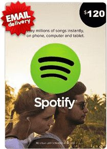 Buy Spotify Gift Card under $120 from MyGiftCardSupply and using Paypal or other payment getway. All our gift cards are 100% authentic and available for you.