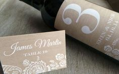 Beautiful Faux burlap place cards and table numbers, perfect for a Rustic Romantic Wedding