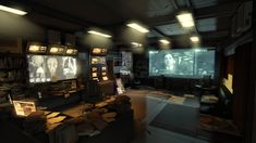 Cyberpunk Atmosphere, Future, Futuristic, Monitors, Deus Ex UDK Environment by ~karthikdevil on deviantART