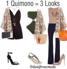 Prá você que está de olho nas férias já ir pensando na mala...e para você que quer aproveitar ao máximo as possibilidades do seu guarda-… Preppy Outfits, Cool Outfits, Fashion Outfits, Womens Fashion, Looks Plus Size, Trendy Girl, Outfit Combinations, Kimono Fashion, Fashion Advice