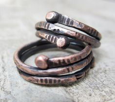 Copper City Stackers. ring stacks rough hewn two industrial talisman grunge rock and roll  jewelry  unisex