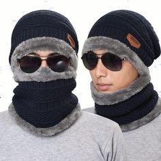 Punto Sombrero Bufanda Cap Cuello Más cálido Invierno Sombreros Para hombres Mujer Skullies Gorros Fleece