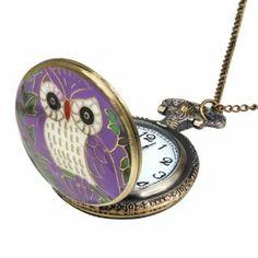 Enamel Finished Owl Purple Tone Cover Bronze Pocket Watch Easy Read World Pride. $4.49