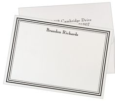 Men's Stationary: Colonial Flat Triple Border Note Cards