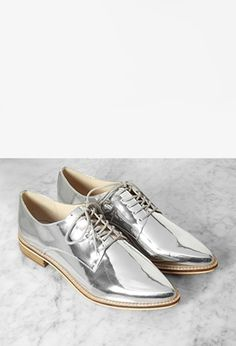 Metallic Faux Leather Oxfords | Forever 21 - 2000157601