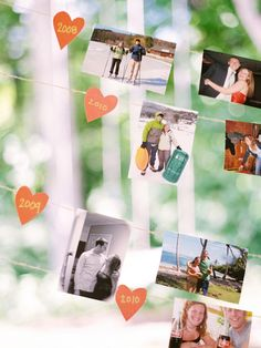 Snapshots Of Your Love Story: Share your story (or that of the happy couple's if you're hosting their engagement party) with a collection of your favorite photos together or even a sign featuring the timeline of your relationship.