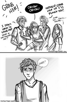 First impressions. This happens right after this. Featuring: Hermes, Artemis, Apollo, Hestia and Orion. I think I'm going to have post a drawing chronology of my teen olympians somewhere. Otherwise...