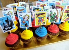 Super Hero Cupcakes not the cupcakes but the toppers for decoration. xmen though.