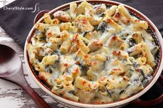 Hearty chicken and spinach pasta bake recipe - CherylStyle