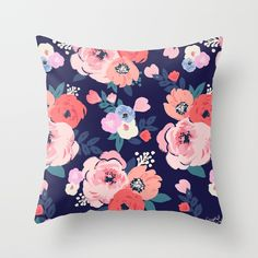 Aurora Floral Throw Pillow by Crystal W Design - Cover x with pillow insert - Indoor Pillow Peach Bedroom, Floral Bedroom, Teen Girl Bedrooms, Big Girl Rooms, Kids Rooms, Floral Throw Pillows, Decorative Pillows, Floral Couch, Pink Watercolor