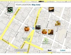 i love the map with photos from foodspotting website.