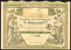 France: Usines d'Automobiles G. Brouhot, 100 franc share, Paris 1906
